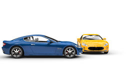 Blue And Yellow Cars Royalty Free Stock Photos