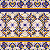 Blue and yellow ceramic tile pattern. Seamless pattern of rhombus blue and yellow ceramic tile with portugal motives and stripes stock illustration