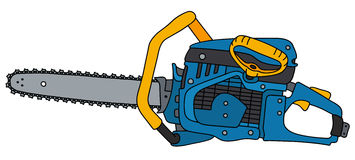Blue and yellow chainsaw. Hand drawing of a blue and yellow chainsaw Stock Images