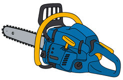 Blue and yellow chainsaw. Hand drawing of a blue chainsaw Stock Photos