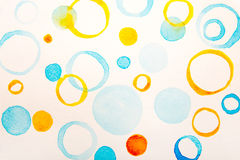 Blue and yellow circles water color Stock Image