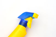 Blue and Yellow cleaning bottle Stock Images