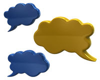 Blue and yellow cloud speech bubbles. 3d illustration of blue and yellow cloud speech bubbles Royalty Free Stock Photo