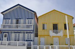Blue and yellow colored stripes houses Stock Photo