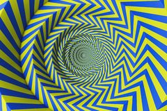 Blue and yellow concentric circles pattern. Abstract background made of yellow and blue concentric circles. Concept of creativity and art. 3d rendering royalty free illustration