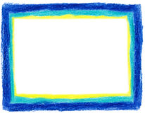 Blue and Yellow Crayon Frame Royalty Free Stock Images