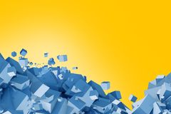 Blue and Yellow Cubes Stock Photo