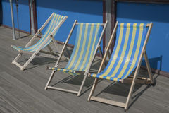 Blue and Yellow Deckchairs Stock Photo