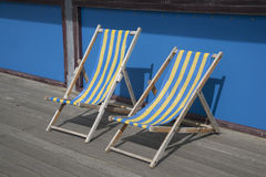 Blue and Yellow Deckchairs Stock Photography