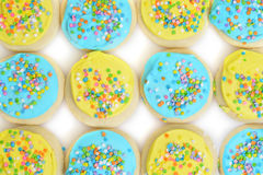 Blue and yellow easter cookie background Stock Photography