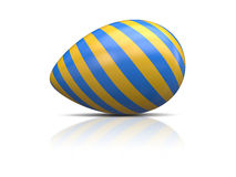 Blue yellow easter egg Stock Images