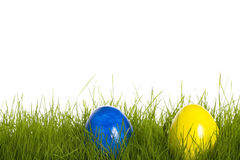 Blue and yellow easter egg in grass Royalty Free Stock Photos