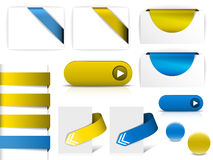 Blue and yellow  elements for web pages Royalty Free Stock Photography