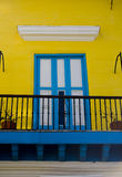 Blue and yellow entrance in cuba. Blue and yellow balcony entrance vacation house Royalty Free Stock Images