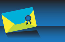 Blue and yellow envelope with seal Royalty Free Stock Images