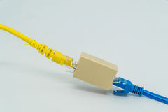 Blue and Yellow ethernet Cat5e cables plug RJ45 cable extender o Stock Photos
