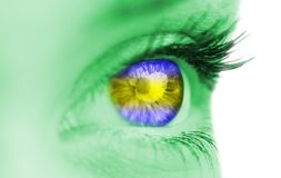 Blue and yellow eye on green face Royalty Free Stock Photo