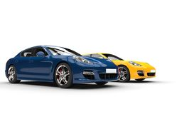 Blue And Yellow Fast Cars Stock Photos