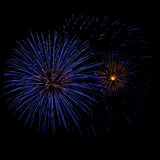 Blue and Yellow Fireworks Royalty Free Stock Images