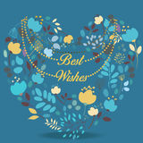Blue and yellow floral heart with text Best wishes Stock Photos