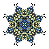 Blue and yellow floral mandala Royalty Free Stock Images