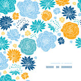 Blue and yellow flower silhouettes corner decor Royalty Free Stock Photo