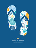 Blue and yellow flower silhouettes flip flops Royalty Free Stock Image