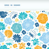 Blue and yellow flower silhouettes torn horizontal Royalty Free Stock Photos