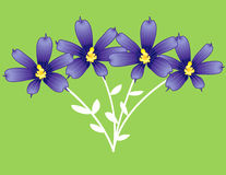 Blue and yellow flowers. Illustration of blue and yellow flowers with green background Stock Illustration