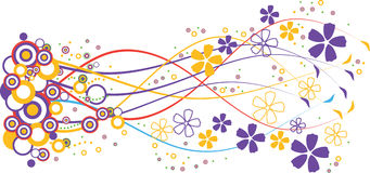 Blue and yellow flowers vector illustration