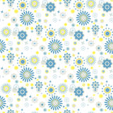 Blue and yellow flowers at white background Royalty Free Stock Photography