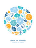 Blue and yellow flowersilhouettes circle decor Royalty Free Stock Images