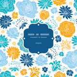 Blue and yellow flowersilhouettes frame seamless Royalty Free Stock Photo