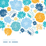 Blue and yellow flowersilhouettes horizontal decor Stock Image