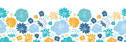 Blue and yellow flowersilhouettes horizontal seamless pattern background Royalty Free Stock Photos