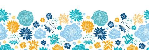 Blue and yellow flowersilhouettes horizontal seamless pattern background Royalty Free Stock Photos