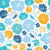 Blue and yellow flowersilhouettes seamless pattern background Royalty Free Stock Photography