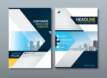 Blue yellow flyer design template vector, Leaflet cover. stock illustration
