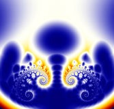 Blue and Yellow Fractal Background. An abstract geometrical fractal background that reminds the artist of a nuclear explosion Royalty Free Illustration