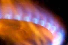 Blue and yellow gas flames Royalty Free Stock Image