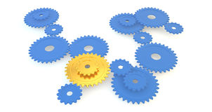 Blue and Yellow Gears. Assorted sizes of blue gears with two yellow gears standing out from the crowd Royalty Free Stock Photo