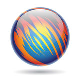 Blue and Yellow Glossy Planet Sphere Royalty Free Stock Photo