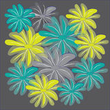Blue yellow and gray translucent flower on dark gray background Stock Photos