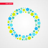 Blue yellow and green baby bubbles vector pattern. Circle shape frame  symbol. Abstract happy summer illustration Stock Photos