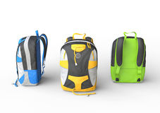 Blue, yellow and green backpacks on white background Stock Photography