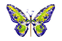 Blue yellow green white paint made butterfly Stock Photography