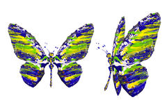 Blue yellow green white paint made butterfly set royalty free illustration