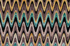 Blue, yellow and grey waves horizontal lines pattern fabric Stock Photography