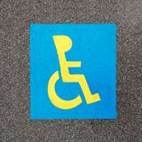 Handicapped parking sign paint on asphalt Stock Photography