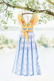 Blue yellow handmade dress. Hanging on tree Stock Images
